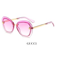 GUCCI tide brand men and women diamond frameless color film polarized sunglasses #4