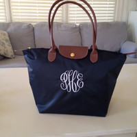 Navy - Personalized Bag - Large Tote - Nylon fold up style - monogrammed FREE - Preppy gift