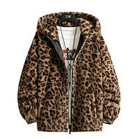 Fashion New Warm love Winter Jacket Men coat woman Hooded faux Fur Leopard Casual Slim Parka Men's Winter Coat