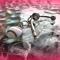 A Softball or Baseball with Bat Belly Ring, Sports, Piercing, Athletic, Athlete, Belly button, Navel, Summer, Beach, Ready to Ship
