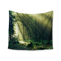 """Light in the Woods"" Green Trees Wall Tapestry"