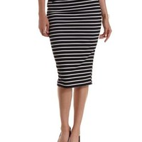 Navy Combo Hip Cut-Out Striped Bodycon Midi Skirt by Charlotte Russe