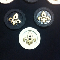 Golden Fleur DeLis on Black and White Plastic Buttons/Two Holes Buttons/ Sewing Supplies/DIY Craft supplies /Novelty Buttons