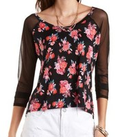 Floral Print Top with Mesh Sleeves by Charlotte Russe - Black Combo