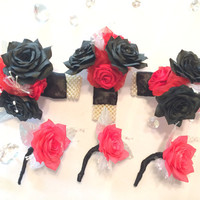 Red and black corsage and boutonniere, Prom corsage, Men's lapel flower, lapel pin, Men's buttonhole flower, Prom boutonniere, Mom corsage