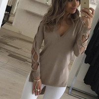 Women Sexy Solid Color V-Neck Irregular Hollow Long Sleeve blouse top