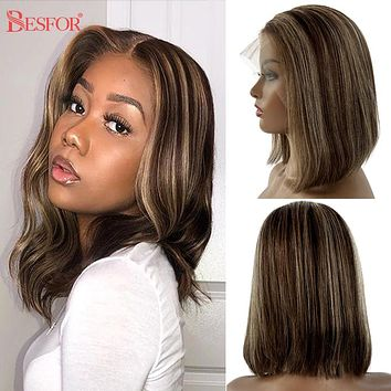 Human Hair Wigs 13X1 Lace Short Blonde T Part  Thick 180% Density Brown Ombre Bob Wigs Pre Plucked Glueless