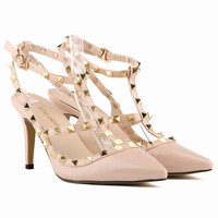 Personality Rivets Hollow Out Cross Strap Heel Shoes
