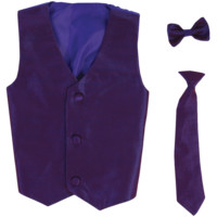 Purple Poly-Silk Boys Vest & Tie Set 3M-14