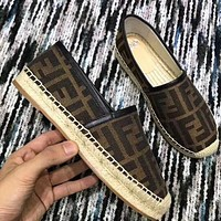 Fendi Shoes Women FF Print Letters Fisherman Shoes Coffee