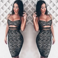 Stylish Lady Sexy Strap Lace Floral Stretch Bodycon Hollow Out Package Hip Club Party Dress