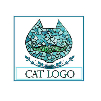 CustomLogo design,blue turquoise vector cat with mustache Logo and watermark,Cat logo,Professional Business Logo,graphic design, logo design
