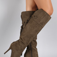 Qupid Suede Tassel Fringe Pointy Toe Stiletto Heeled Knee High Boot