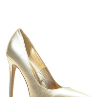 Gold Faux Leather Pointy Toe Classic Pumps