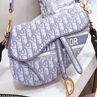 Hipgirls  Dior Fashion New More Letter Print Leather Shoulder Bag Crossbody Bag Saddle Bag