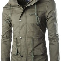 jeansian Men's Casual Double Collar Jacket Coat Outwear 9351
