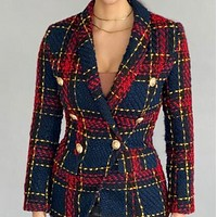 Explosive hot selling all-match woolen plaid jacket small suit