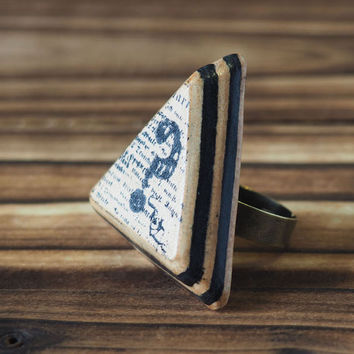 Question Mark Leather Ring #Black