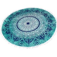 """Round Beach Throw Tapestry Hippy Boho Gypsy Cotton Table Cover Round Tapestry wall hanging 70"""" Gift"""