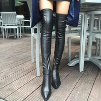 Black Over the Knee Boots Sexy Female Thigh High Boots
