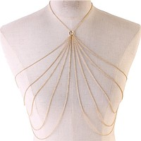 "37"" gold layered collar necklace bra body chain bikini swimsuit bathing suit"