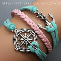 Silver Anchor & Compass Bracelet  Light Blue Leather Rope  Pink Braided Leather Vintage Style Bracelet women and men cuff bracelet 0522P