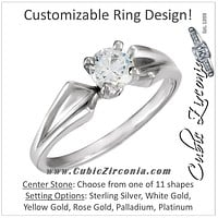 Cubic Zirconia Engagement Ring- The Tara (Customizable Solitaire with Twisted Ribbon Band)