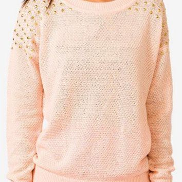 Studded Open Knit Sweater