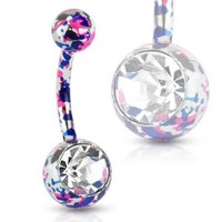 Pink and Purple Paint Splatter Navel Ring with Large CZ 14G