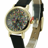 Geneva Glitter Dial 22mm Leatherette Watch
