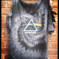Pink Floyd Dark Side of the Moon // sliced // cut // grunge// t shirt // tie dyed // band shirt