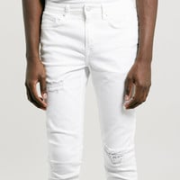 White Ripped Stretch Skinny Jeans - Topman