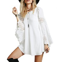 Flared Tunic Dress With Crochet Lace Sleeves