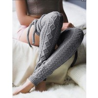 Sexy Thigh High Over Knee Socks Women Knitted Woolen Stockings Winter Warm Long Bandage Hollow Out Leg Warmers meias Q4