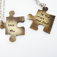 puzzle necklace -hand stamped set - his and hers, best friend, puzzle piece