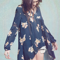 Navy Floral Crochet Detail Tunic Top