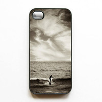Iphone case. Surfer. Surf. Surfing. Ocean. Gray. Silver. Black. Clouds. Waves. Water. Silhouette. Iphone 4 case. 4s case. cover. cool