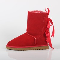 UGG winter new women's shoes women's double ribbon after the bow thickened boots red