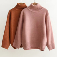 Pink Roll Neck Drop Shoulder Sweater-2Colors