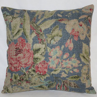 "Royal Blue & Red Floral Pillow, Waverly After Glow Indigo, Pink, Aqua, 17"" Sq Linen Blend,  Zipper Cover Only or Insert Incl, Ready Ship"