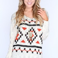 Ivory Multi Long Sleeves Knitted Sweater