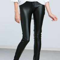 Half And Half Quilted Front Jeans