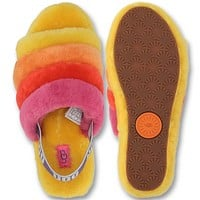 UGG  New Fashion  Fashion Fur Flats Hight Quality Contrast Color Sandals Women Leisure Slippers Shoes