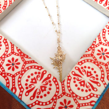 Gold Shell Necklace on Satellite Chain, Gold Seashell Pendant, Gold Seashell Necklace