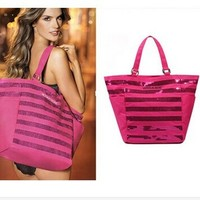 Free Shipping victoria rose pink sequins canvas bag shoulder handbag bag beach bag for women ladies-in Totes from Luggage & Bags on Aliexpress.com