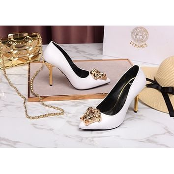 VERSACE  Women Casual Shoes Boots fashionable casual leather Women Heels Sandal Shoes