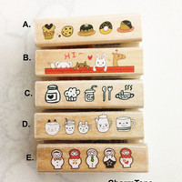 Long wood mounted Rubber Stamp - Border Stamping