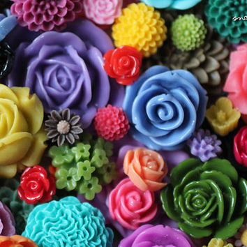 100pc resin flower cabochon mix, a wholesale lot of mixed cabochon sizes and styles, make earrings, rings