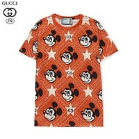 Gucci x Disney joint Mickey Mouse cute print round neck short sleeve fashion men's and women's T-shirt