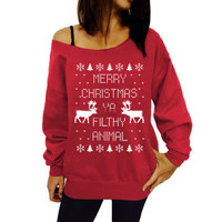 Christmas Deer Letter Print Loose Sweater